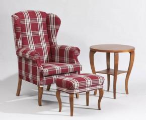 Fotel Uszak1 w kratę ze stolikiem i podnóżkiem